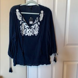 Lucky Embroidered Front Peasant Blouse | 1X
